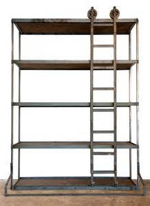vintage industrial shelf with rolling ladder the white