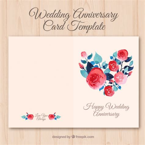 Wedding Anniversary Card Free by Wedding Anniversary Card With Watercolor Flowers Vector
