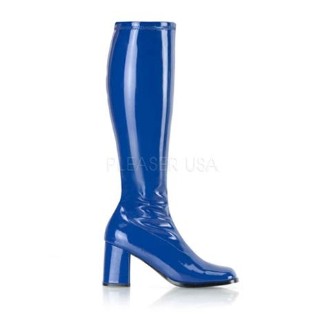 navy blue stretch patent block heel gogo boots boots