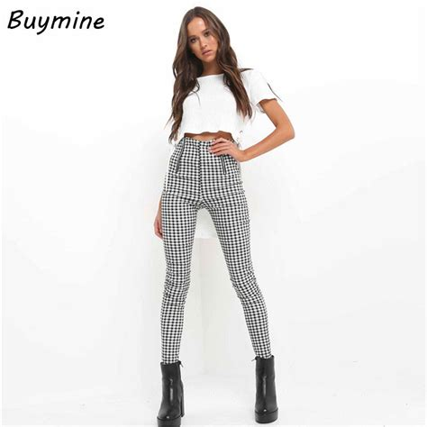 pants checkered jeans checkered pants black and white high waist gingham pants women black white plaid pencil