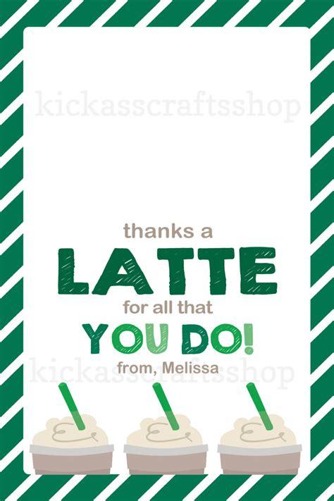 Kartu Starbucks Card Bag Tag Printable Starbucks Inspired Thanks A Latte By
