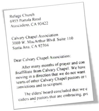 california church disaffiliates with calvary chapel over