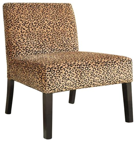 Printed Living Room Chairs Coaster Accent Chair With Wood Legs In Leopard Print