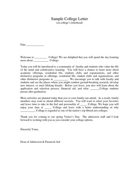 College Letter Interest College Admission Cover Letter Exle