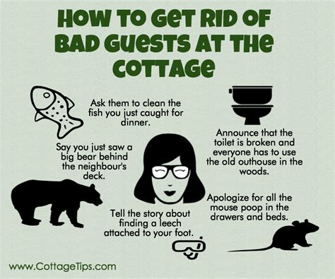 how to get rid of terrible guests cottage tips