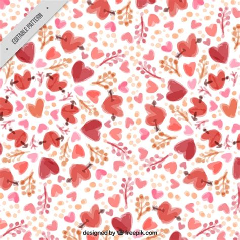 watercolor pattern vector free watercolor hearts floral pattern vector free download