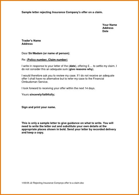 Letter To Insurance Company For Claim Sle 8 Claim Letter Sle Itinerary Template Sle