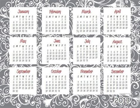 printable usable calendars 2013 one page calendar free printable available in 4