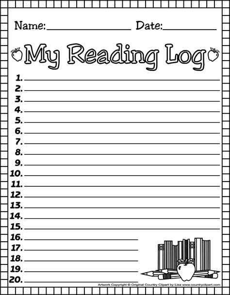 Printable Reading Log For Kindergarten | http www countryclipart com readinglogs myreadinglog1bw