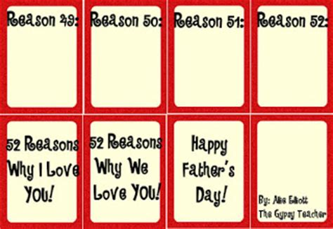 52 Reasons Why We Love Dad The Gypsy Teacher 52 Reasons Why I You Template