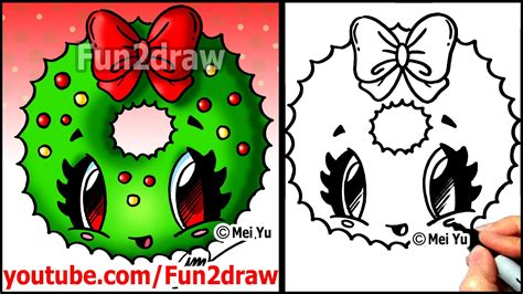 how to draw a christmas wreath with a bow fun2draw easy