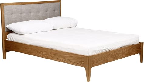 wood frame upholstered headboard stockholm solid wood bed frame with upholstered headboard oak ebay