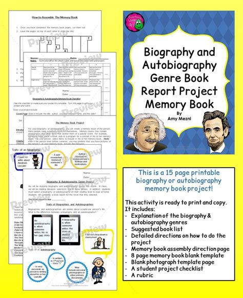 Writing A Biography Book Report by Biography Autobiography Genre Book Report Memory Book Project Rubric Book Projects