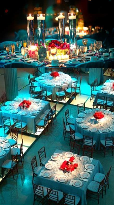Aqua with red reception   Aqua/Teal and Red Wedding Ideas