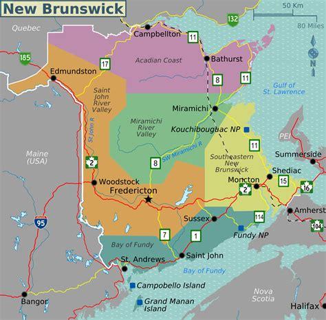 map of maine usa and new brunswick canada map of new brunswick map regions worldofmaps net