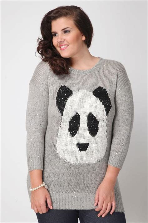 knitting pattern panda jumper grey panda intarsia knitted jumper with sequin detail plus