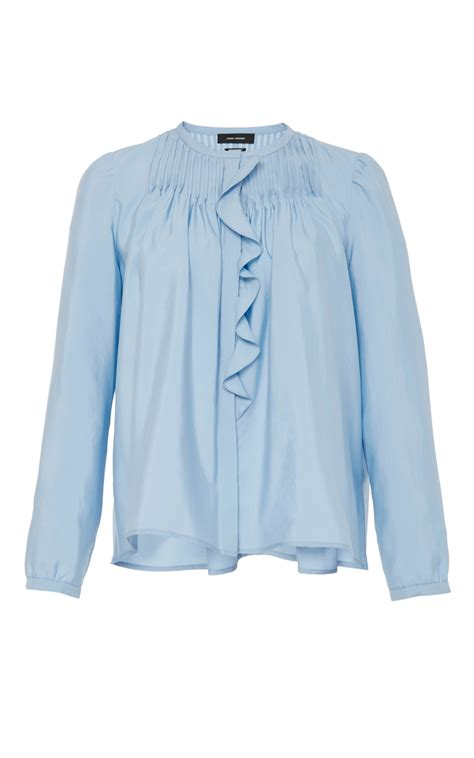 Gloria Jumbo Blouse Light Blue pleyel ruffle front blouse by marant moda operandi