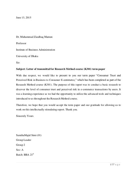 Transmittal Letter For A Research Research Paper Consumer Trust And Perceived Risk In B2c E Commerce