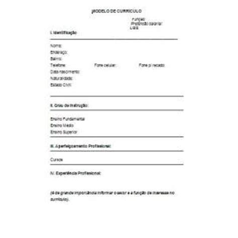 Modelo De Curriculum Vitae Basico Para Imprimir Curr 237 Culo Simples Dicas E Dica