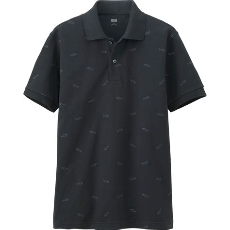 Uniqlo Pique Polo Shirt 2 uniqlo pique printed sleeve polo shirt in black for lyst