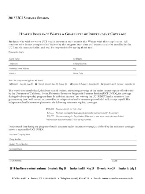 Insurance Exemption Letter Insurance Waiver Form 3 Free Templates In Pdf Word Excel