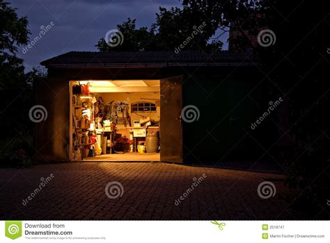 garage workshop  night royalty  stock photography
