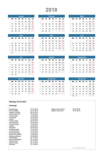 format kalender 2018 kalender 2018 schweiz zum ausdrucken pdf vorlage muster ch