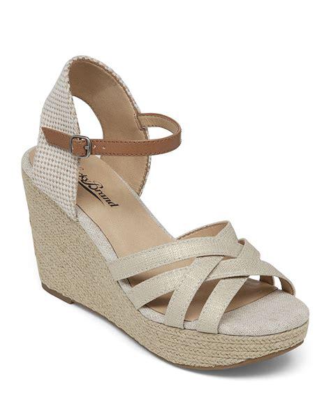 lucky brand espadrille wedge sandals mahima metallic in
