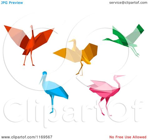 Stork Origami - clipart of colorful origami heron stork or cranes