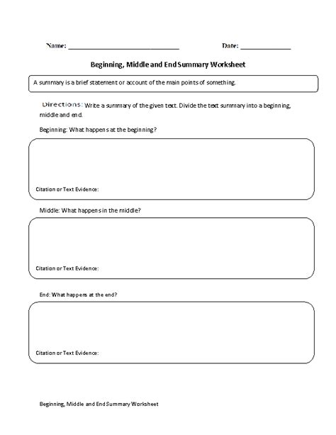 Summary Worksheets by Summary Worksheets Beginning Middle And End Summary