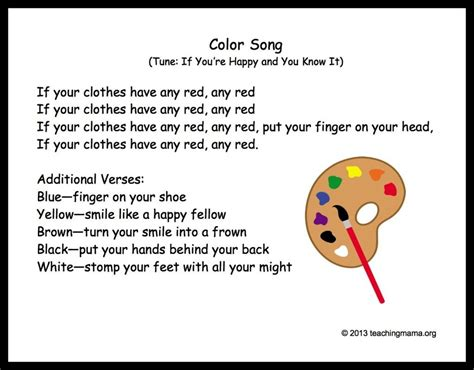 this is a song about colors 10 preschool transitions songs and chants to help your