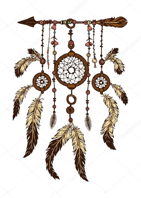 dreamcatcher feathers hand drawn with ink dreamcatcher with feathers ethnic