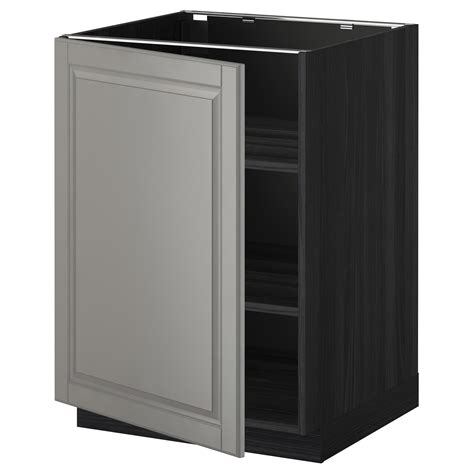 metod base cabinet with shelves black bodbyn grey 60x60 cm