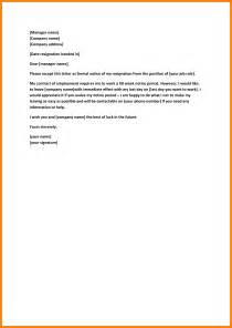 Notice Letter For Resignation by 9 Professional Resignation Letter Sle With Notice Period Letter Format For