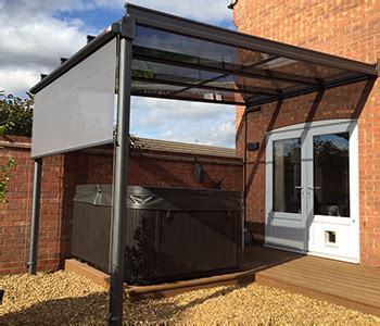 hot tub retractable awning glass veranda with vertical blind samson awnings