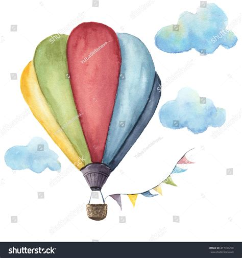 watercolor pattern with air balloons and clouds stock watercolor hot air balloon set hand stock illustration