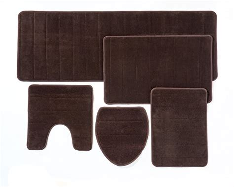 5 piece bathroom rug set bathroom rug mat 5 piece set memory foam extra soft non slip back brown