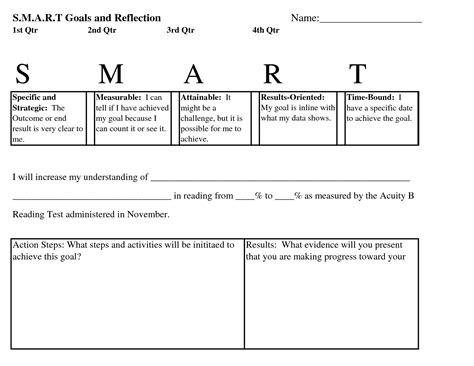 6 best images of smart goals worksheet for elementary
