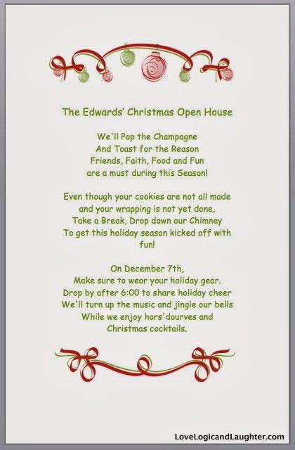 christmas invite ryhmes open house open house and invitations on