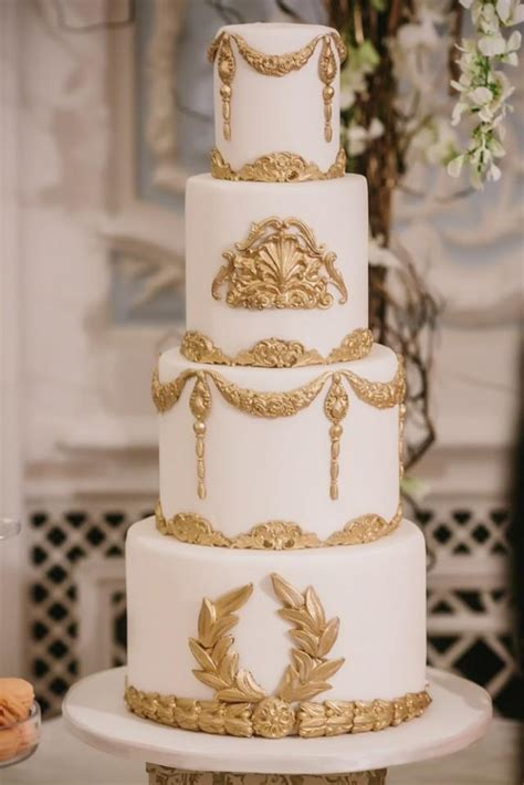 Baroque Wedding   White And Gold Baroque Wedding Cake