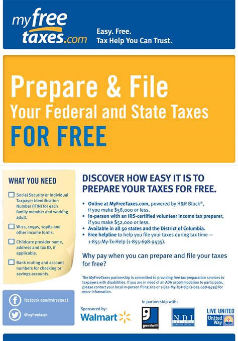 Nndf My Free Taxes Free Tax Preparation Flyers Templates