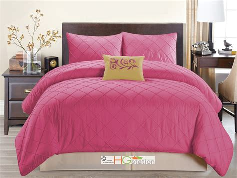 hot pink comforter 4 pc diamond pleated pintuck comforter set embroidered