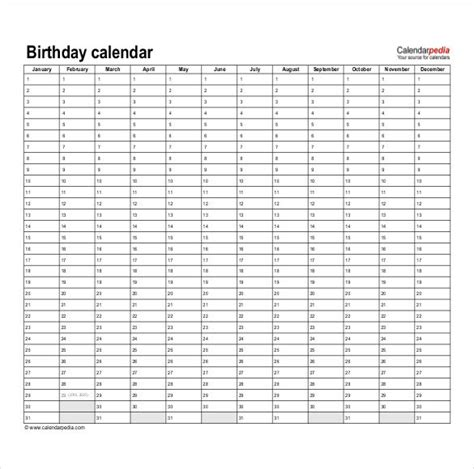 calendar birthday template birthday calendar 43 calendar template free premium