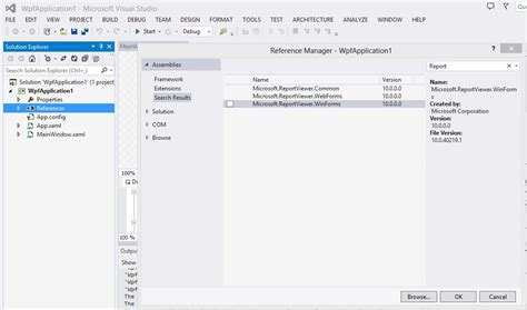reportviewer wpf visual studio 2013 cannot find reference quot microsoft