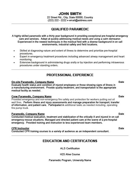 Emt Resume by Qualified Paramedic Resume Template Premium Resume