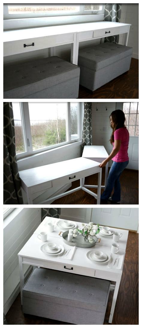 tiny house dining table diy convertible desk space saving idea