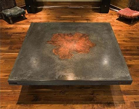 Concrete And Wood Coffee Table Concrete Table With Wood Inlay The Details Are What Makes The Rest Of The Table And