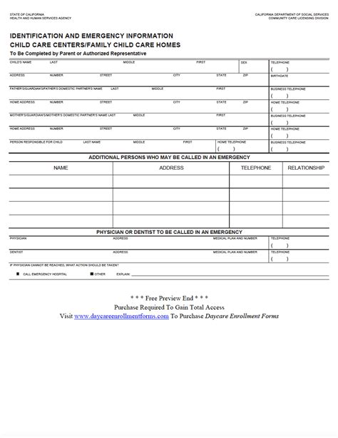 Daycare Enrollment Forms Child Care Registration Forms Templates Download Save Print Child Care Enrollment Form Template