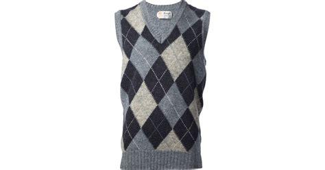 diamond pattern sleeveless jumper lyst pringle of scotland diamond check sleeveless jumper