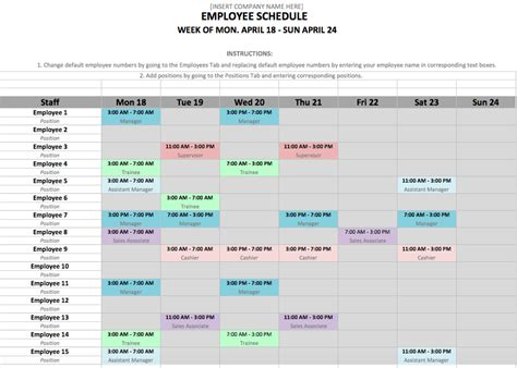 free excel template for employee scheduling when i work projects
